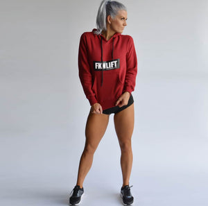 Women's-maroon-fknlift-hoodie-fkn-gym-wear-usa