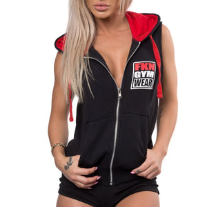 Women's-black-sleeveless-gun-show-hoodie-fkn-gym-wear-usa