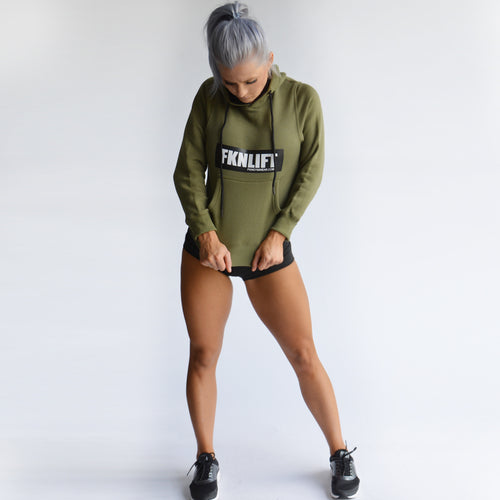 Women's-khaki-fknlift-hoodie-fkn-gym-wear-usa