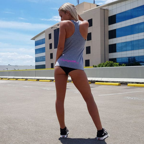 Women's-grey-SIGNATURE-singlet-FKN-gym-wear-usa