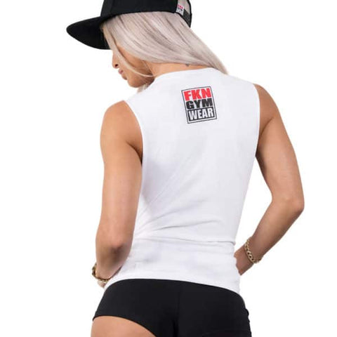 Women's-white-hustle-tank-tee-fkn-gym-wear-usa