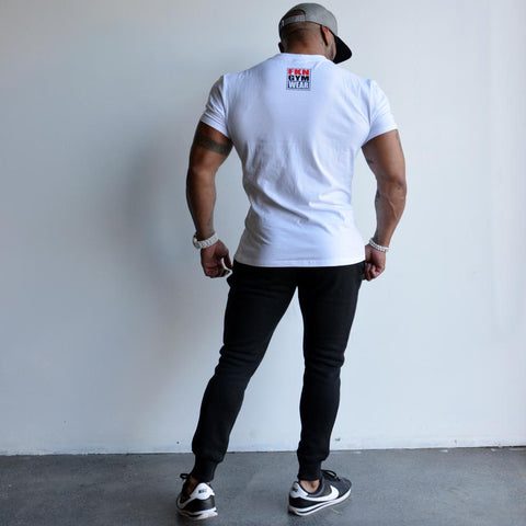 men's-white-HUSTLE-tshirt-FKN-Gym-Wear-USA