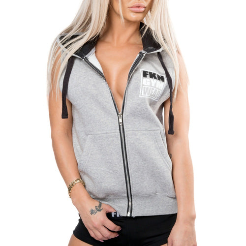 Women's-grey-sleeveless-gun-show-hoodie-fkn-gym-wear-usa