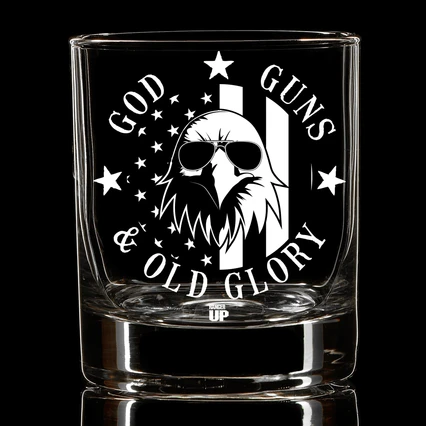 God, Guns and Old Glory Whiskey Glass