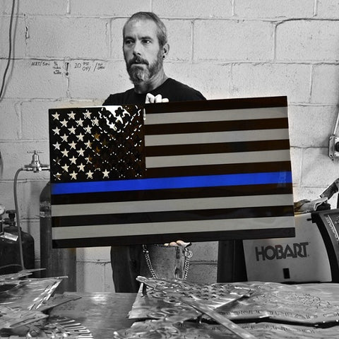 LARGE American Liquid Metal - Thin Blue Line Flag Sign
