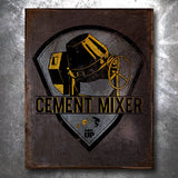 Cement Mixer Wrestling Vintage Tin Sign
