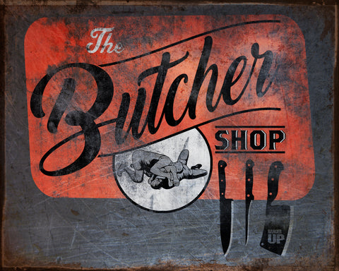 Butcher Shop Wrestling Vintage Tin Sign