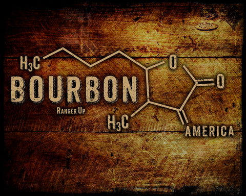 Bourbon Molecule Vintage Tin Sign
