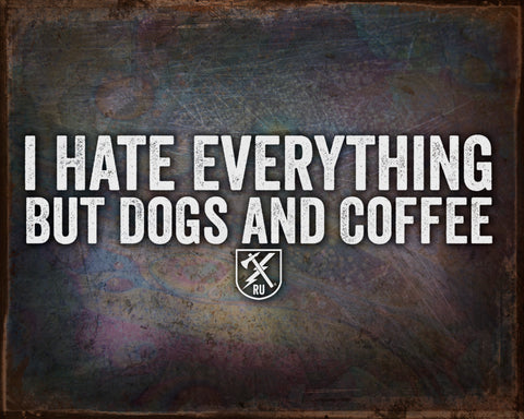 Dogs And Coffee Vintage Tin Sign
