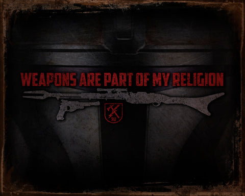 Weapons Religion Tin Sign