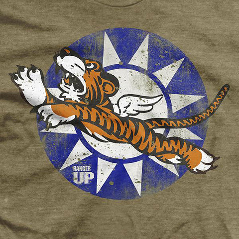Flying Tigers Bomber T-Shirt - Heather Brown