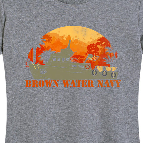 Women's Brown Water Navy T-Shirt