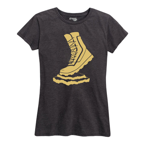 Women's Vettys Gold Boot Charcoal Tee