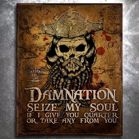 Blackbeard Damnation Vintage Tin Sign