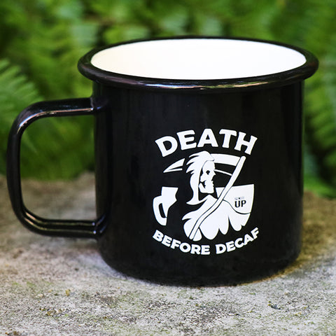 Death Before Decaf Tin Mug