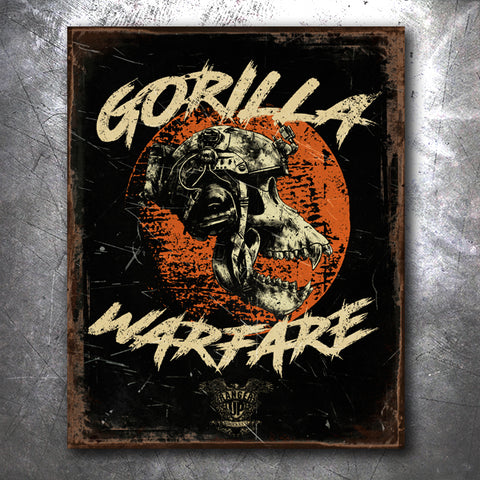 Gorilla Warfare Redux Tin Sign