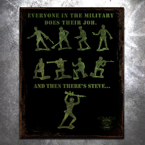 Green Army Man Tin Sign