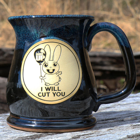 I Will Cut You - Blue Stoneware Mug