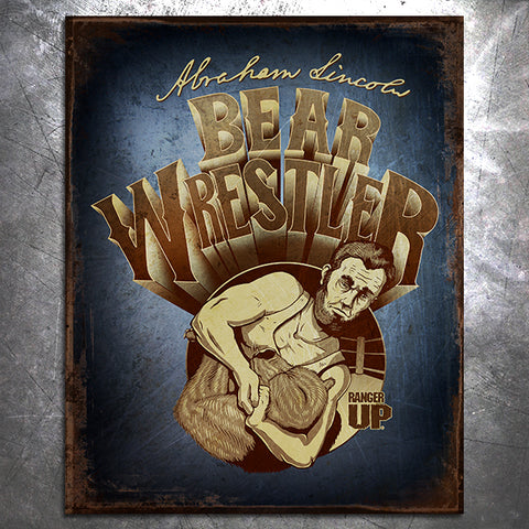 Lincoln Bear Wrestler Tin Sign