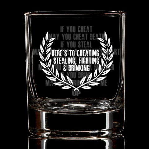 May you Drink with me Whiskey Glass