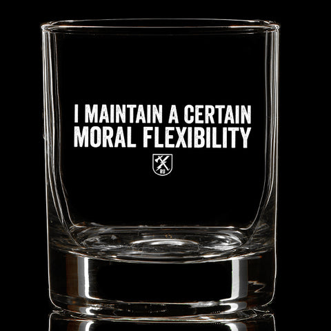 Moral Flexibility Whiskey Glass