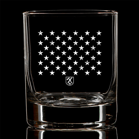Navy Stars Whiskey Glass