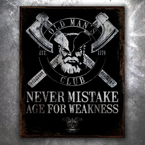 OMC Age For Weakness Vintage Tin Sign