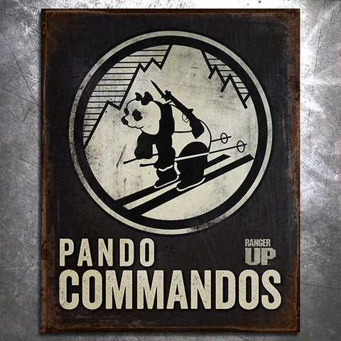Pando Commando Skiing Patch Tin Sign