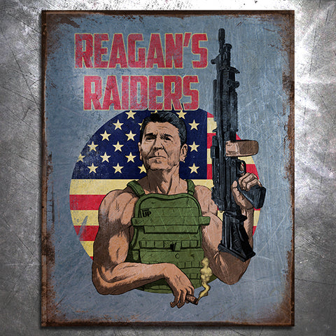 Reagan's Raiders Tin Sign