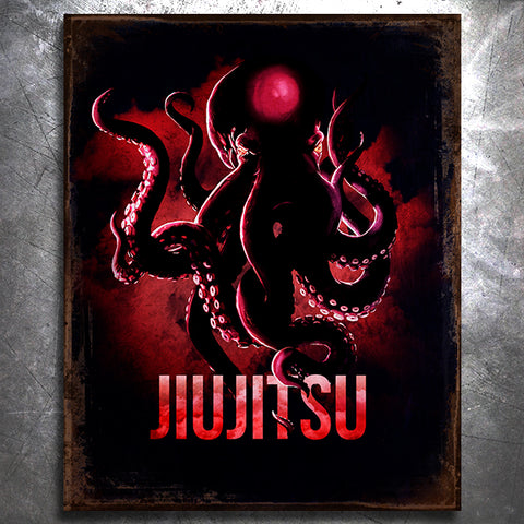 Octopus Jiu Jitsu Tin Sign