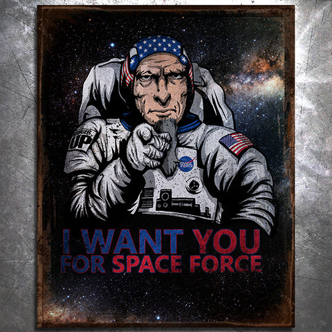 Space Force Uncle Sam Tin Sign