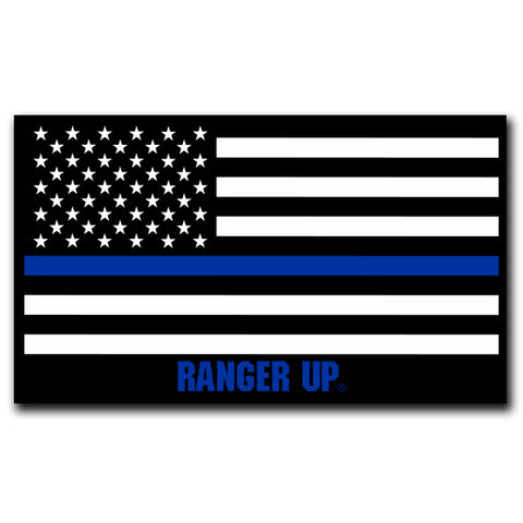 Thin Blue Line Flag Sticker -- 4.5""