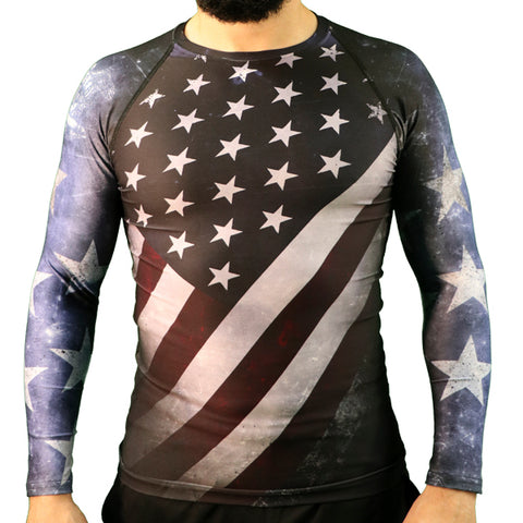 American Flag Long-Sleeve Rash Guard