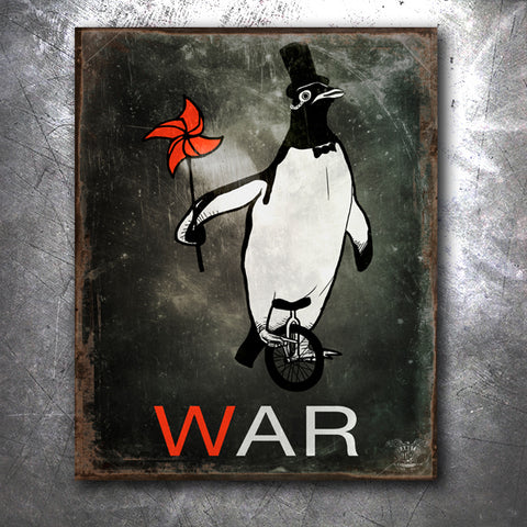 War Penguin Tin Sign
