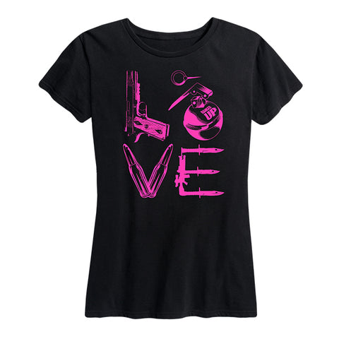 Women's LOVE Tee Pink and Black