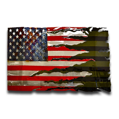 American Liquid Metal Combat Transformation Flag Sign