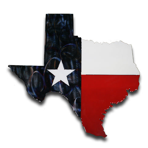 Texas State American Liquid Metal Flag Sign