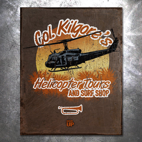Col Kilgore's Helicopter Tours Vintage Tin Sign