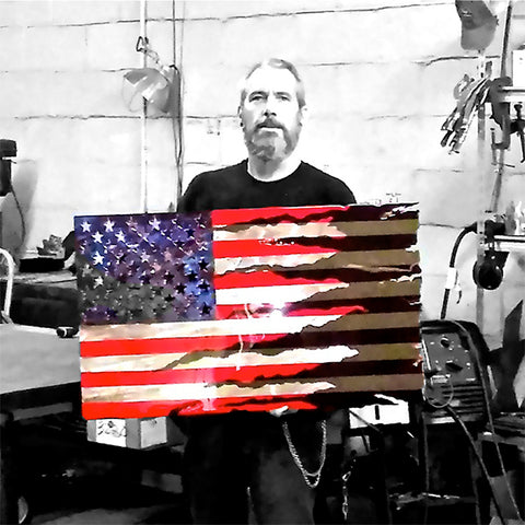LARGE American Liquid Metal - Combat Transformation Flag Sign