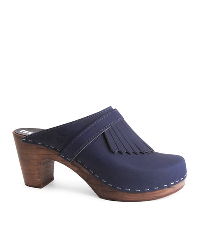 Venice Navy High Heeled Clogs with Tassles