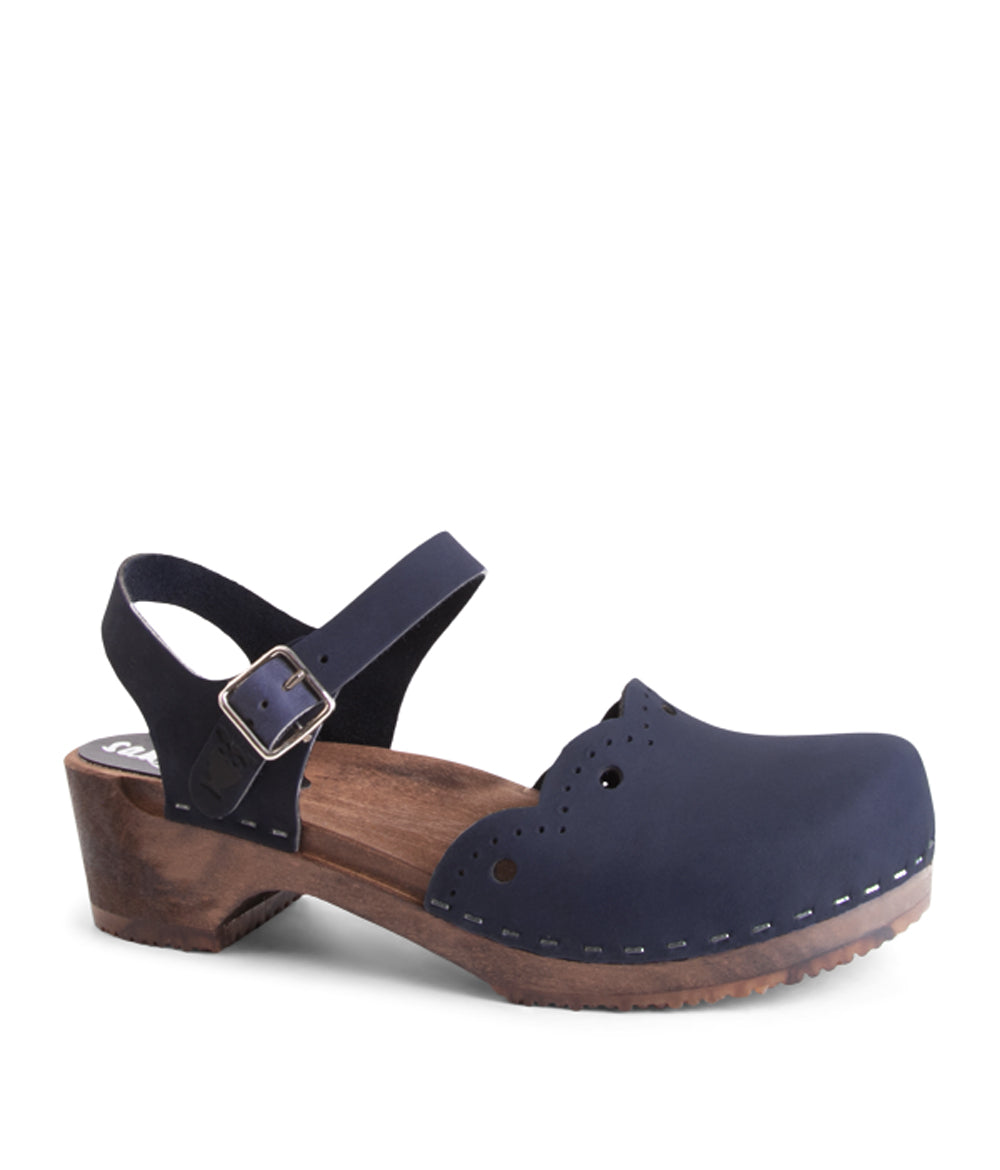 Milan Navy Dark Base Swedish Clog Sandal