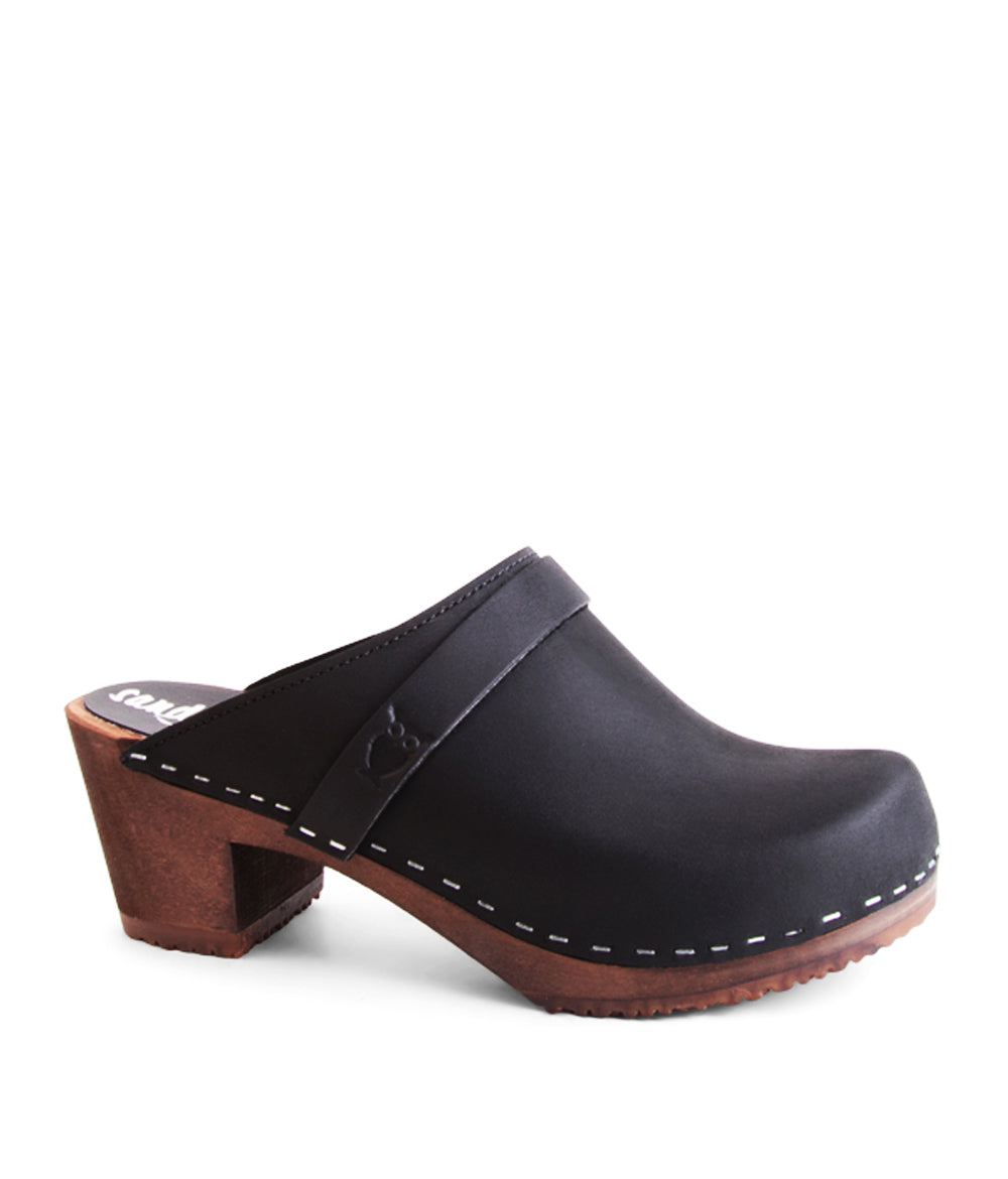 Dublin Black with Dark Base Women's Mule Slip on Clog