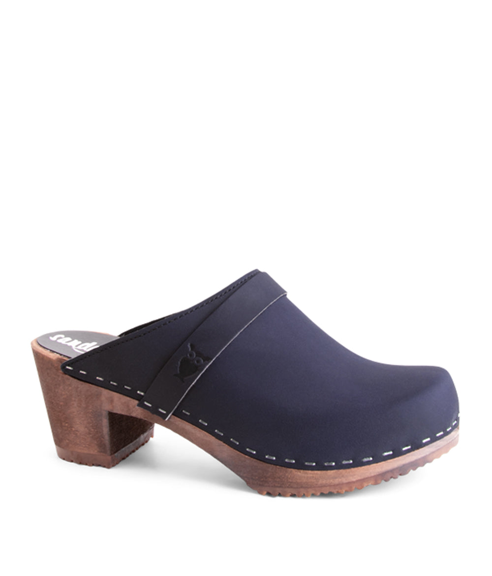 Dublin Navy Dark Base Swedish Mule Clog