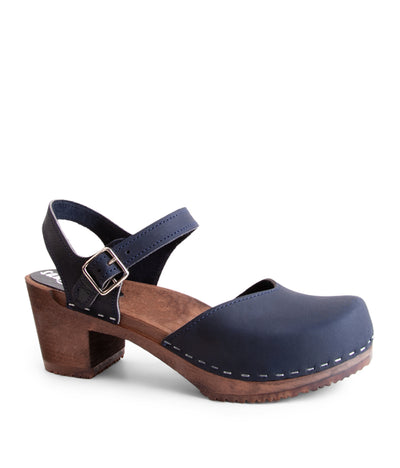 Victoria Navy Dark Base High Heel Clog