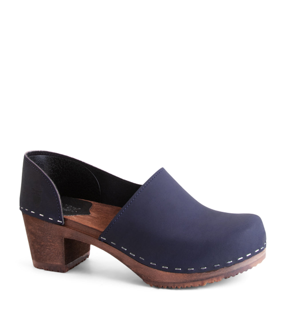 Brett Navy Dark Base Closed Back Modern Clog