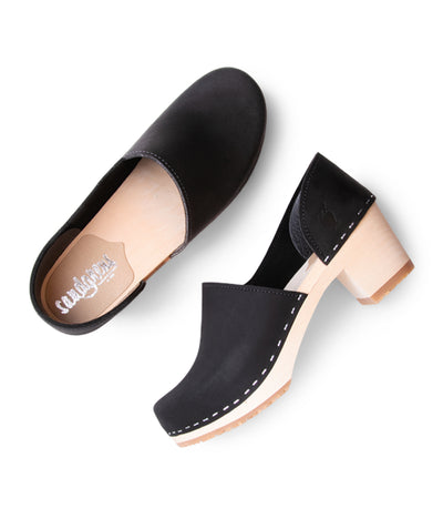 Brett - Black leather with light base fashion clogs