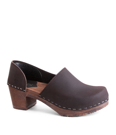 Brett Dark Brown with Dark Base Closed Back Fashion Clogs