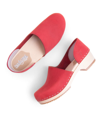 Brett low red closed back women's Swedish clog