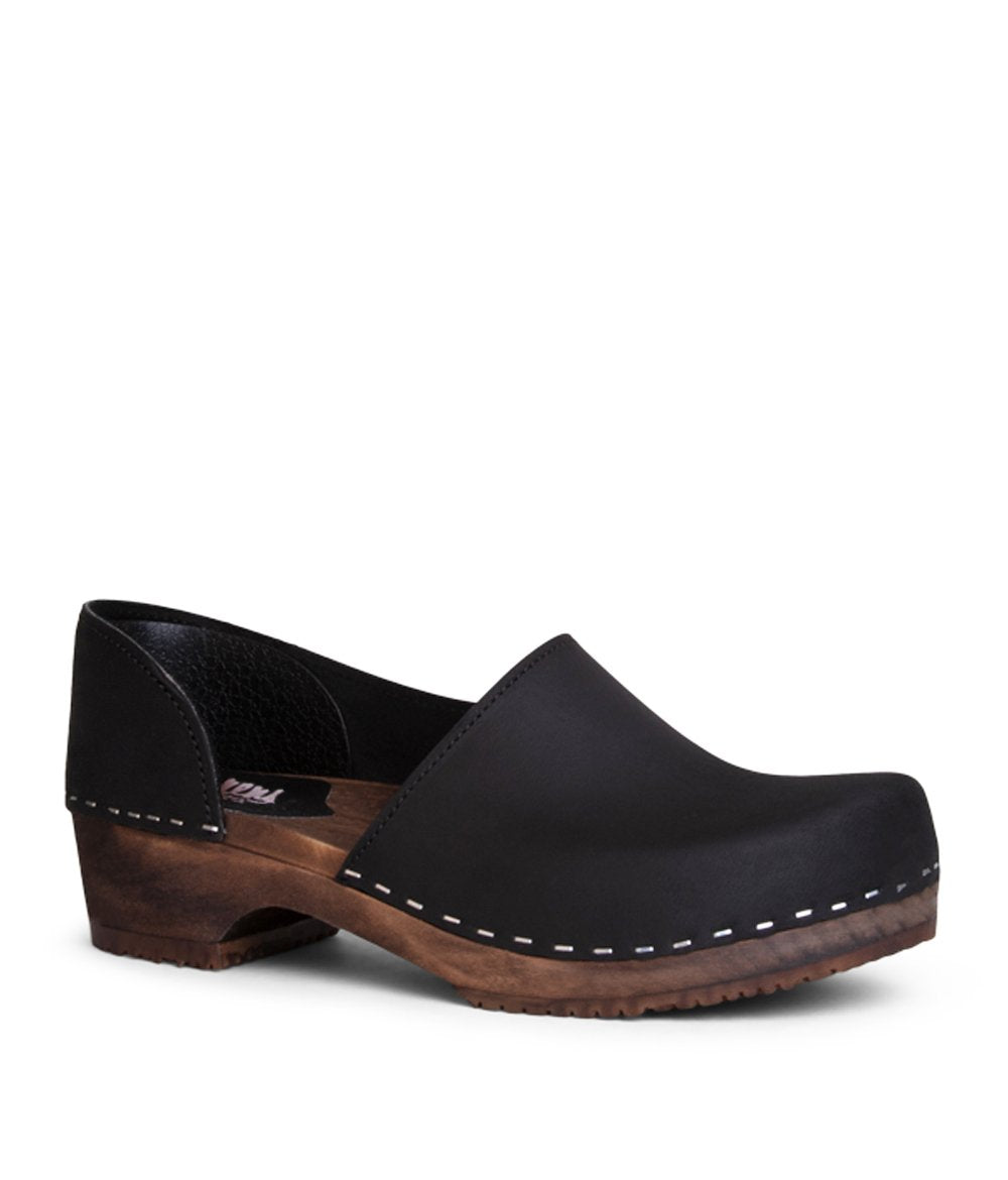 Brett Low - black with dark base closed back women's clog