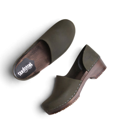 Brett Low - Olive with Dark base Swedish fashion clogs